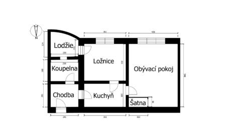 Půdorys bytu na prodej v Přerově