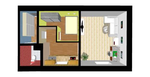 Půdorys družstevního bytu 1+1 v Přerově, nám. Svobody - aktuální stav