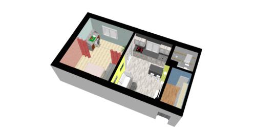 Půdorys družstevního bytu 1+1 v Přerově, nám. Svobody - návrh úprav
