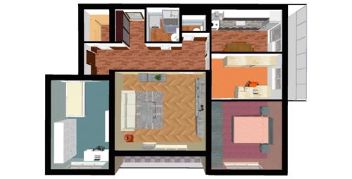 Půdorys bytu 4+1 v osobním vlastnictví s garáží v Přerově na ulici Kabelíkova