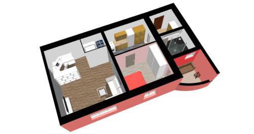 Družstevní byt 2+1 Denisova Přerov - půdorys